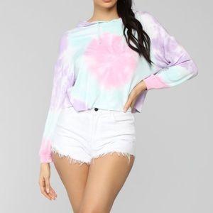 Fashion Nova Rainbow Cropped Hoodie